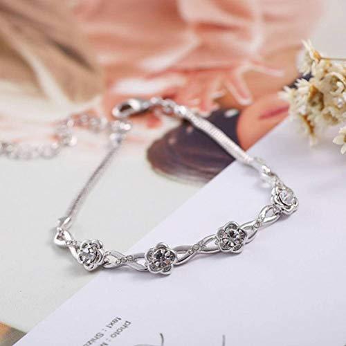S&RL Pulsera Decorativa para Mujer, Pulsera de Flor de Ciruelo, Mujer Simple Personalidad Aleación Cristal Todo-Fósforo Joyería Regalo Romántico Amanteblanco