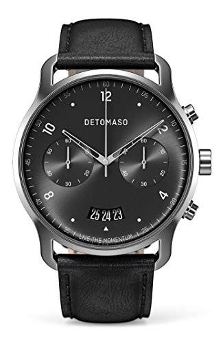 DETOMASO SORPASSO Chronograph Silver Grey Herren-Armbanduhr Analog Quarz Italienisches Lederarmband Schwarz