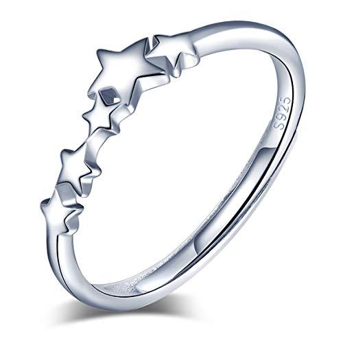 Yumilok Anillo de plata de ley 925 para Mujer, anillo abierto de estrella de Navidad, tamaño ajustable, regalo de cumpleaños de Navidad, tamaño: 49-57