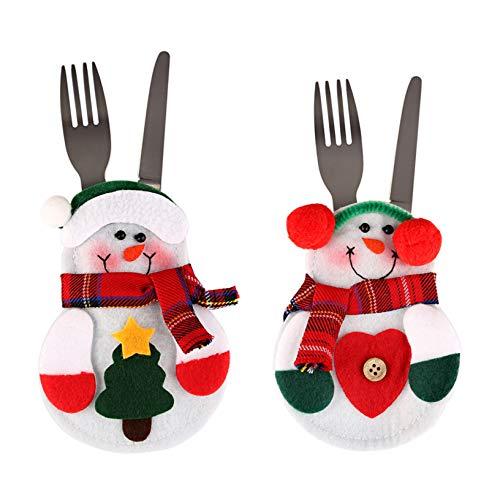 Uten 2PCS Cuisine Costume De Noël Poches Couteaux Fourchettes sac Père Noël Bonhomme De Neige Décoration De Fête De Noël Cadeau D'anniversaire pour Enfants