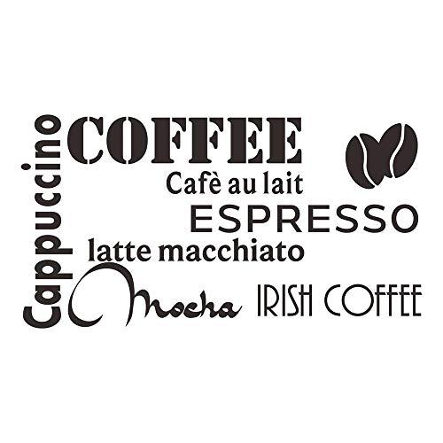 decalmile Nero caffè Scritte e Frasi Adesivi Murali Cappuccino Espresso Mocha Latte Cucina Stickers Murali Vinile Removibile Adesivi da Parete Decorazioni per Cucina Sala da Pranzo Café