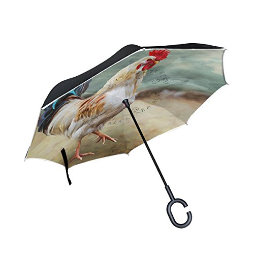 MyDaily Double Layer seitenverkehrt Regenschirm Cars Rückseite Regenschirm Zeichnen Cock Winddicht UV Proof Reisen Outdoor Regenschirm