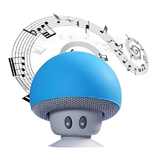 Rabbitstorm Mini Bocina Verde Inalámbrico Bluetooth Portátil en Forma de Hongo con Batería Recargable de Alta Duración, con Ventosa Adherible, Tipo Kickstand (Azul)