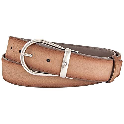 Montblanc - Cinturón casual de 35 mm, hebilla de herradura redondeada de acero pulido de alta calidad, arena ref. 118441