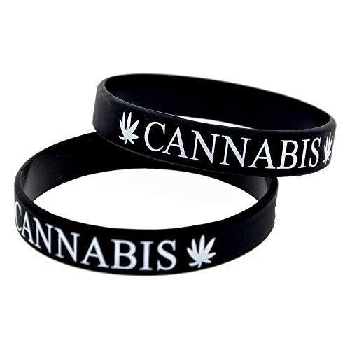 Hjyi Gummiarmbänder Silikon-Armbänder mit Sprüche Cannabis Leaf Punk-Silikon-Armbänder für Kinder Motivation setzen der Stücke