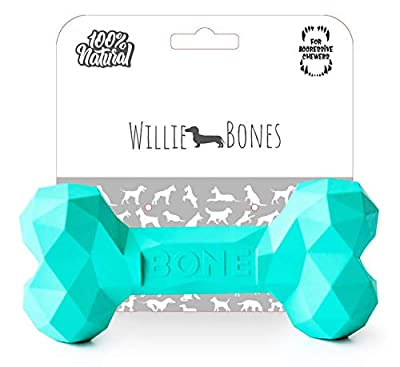 Willie Bones | Modern Dog Chew Toy | Almost Indestructible Dog Toys for Aggressive Chewers | Tough + Durable + Strong Natural Rubber Bone Toy for Small + Large Dogs + Puppy Teething | Boredom Chews