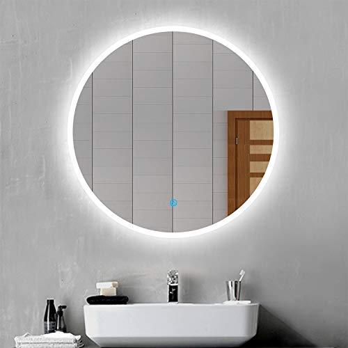 Espejo Baño Redondo con Luz Led Blanco Espejo de Maquillaje Interruptor de Sensor Táctil, Función Antiniebla, Montado en la Pared
