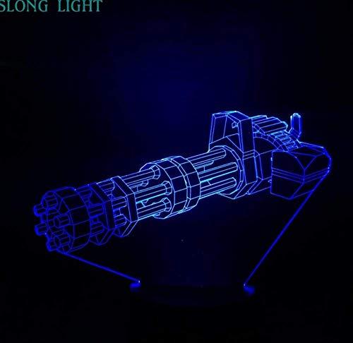 Lichter Gatling Gun Nachtlicht Led Dekoration RGB Dekor RGB 3D Illusion Touch Sensor Kinder Kinder Geschenk Maschinengewehr Tischlampe Schlafzimmer