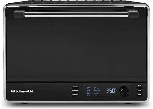 KitchenAid KCO255BM Dual Convection Countertop Toaster Oven, 12 preset cooking functions to roast, bake, fry meals, desserts, grill rack, baking pan, Digital display, non-stick interior, Matte Black (RENEWED)