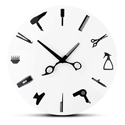 siqiwl Reloj de pared de salón de peluquería de peluquería de herramientas de reloj de pared salón de belleza de diseño moderno relojes de pared novedad decoración del hogar