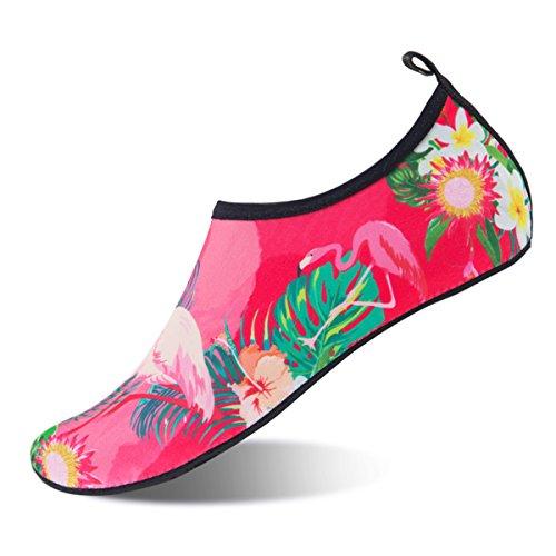 Womens and Mens Kids Water Shoes Barefoot Quick-Dry Aqua Socks for Beach Swim Surf Yoga Exercise (Flamingos, L)