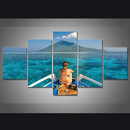 5 Canvas paintings Art Pictures Living Room HD Printed Painting Young Woman In Swimsuit And Diving Home Decor Posters Modern Wall Frameless