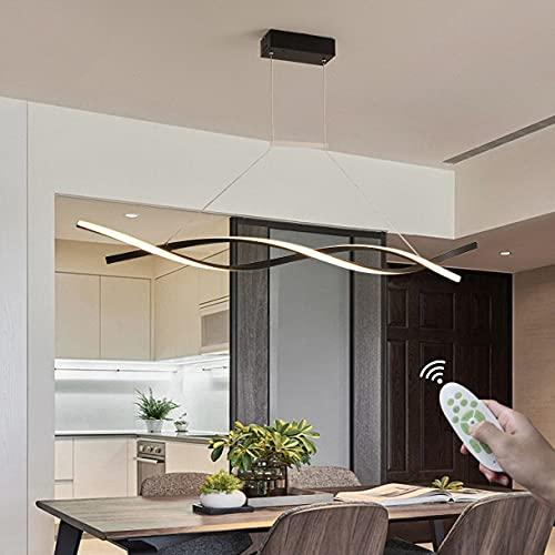 Dagea Regulable LED Lámpara de araña, Moderna Ondulado Línea Arte Lámpara Colgante, con Mando a Distancia, 3000K-6500K, Aluminio y Silicona, 120cm Cable Ajustable, para Salón Comedor,Negro,80CM