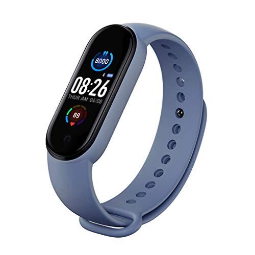 SweetWU - Reloj inteligente M5 para hombre y mujer, monitor de ritmo cardíaco, presión arterial, rastreador de fitness, banda 5, reloj deportivo