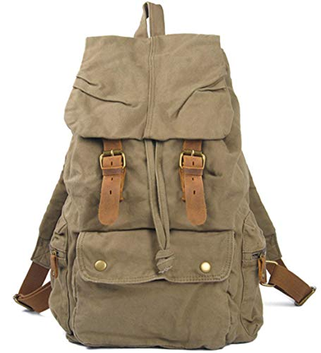 Fashion Vintage Leather Military Canvas Backpack Men's School Bag Drawstring Women Rucksack Army Green
