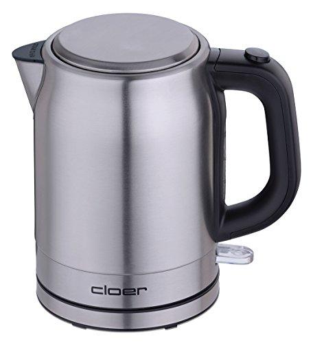 Cloer 4519 Wasserkocher Edelstahl, 2200 W, Wasserstandsanzeige, Trockengeh-und Überhitzungsschutz, 1 Liter