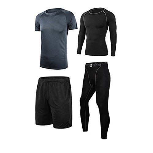 Vogvigo Chándal de Entrenamiento Masculino de Fitness- Camiseta de Manga Larga/Camiseta/Pantalón Largo/Shorts -Conjunto de Running para Corredor (Gris, XXL)