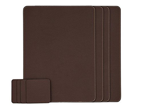 Nikalaz Set of Brown Placemats and Coasters, 4 Table Mats and 4 Coasters, Recycled Leather, Place Mats 15.75'' x 11.8'' and Coasters 3.9'' x 3.9''