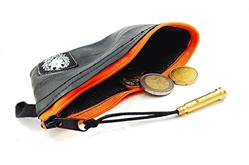 Mini VEGAN Geldbeutel | Herren Münzgeldbörse | Münzbörsen, Münzfach Hergestellt aus Recycelten Fahrradschlauch | Super Weich + Extrem Langlebig (Orange/Orange, Muster: Flicken)