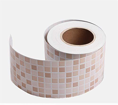 Cenefas de papel pintado autoadhesivas Cuadrícula de color PVC Cenefa autoadhesiva Impermeable be móvil para baño Cocina Decoración Etiqueta de la Pared 10CM X 300CM
