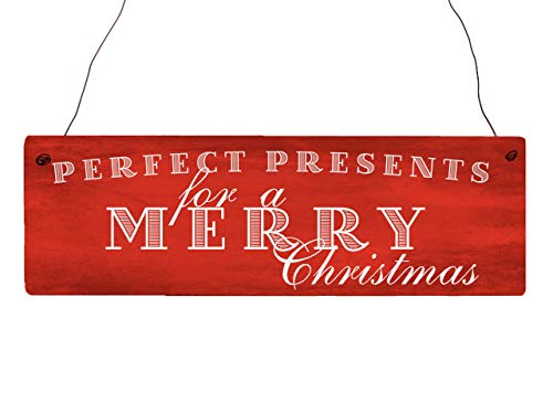 Interluxe houten bord deurplaat Perfect Presents for A Merry Christmas Sinterklaas Kerstmis