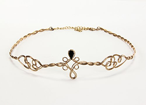 elope Gold Circlet Crown Headpiece with Black Jewels