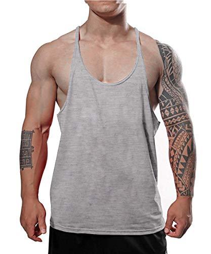 Men's Gold's Gym Muscle Bodybuilding Stringer Tank Tops Y Back Gray Color Size M