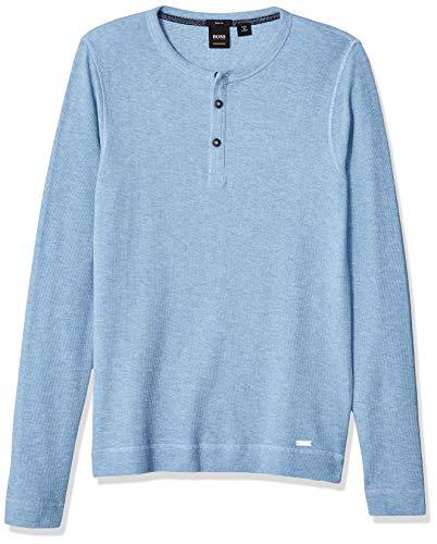 BOSS Orange Men's Trixer Henley T-Shirt, Light/Pastel Blue, XXXL