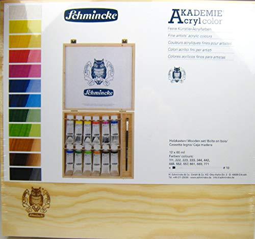 Schmincke Akademie Acryl color 12 x 60 ml Tuben in Holzkasten mit Pinsel