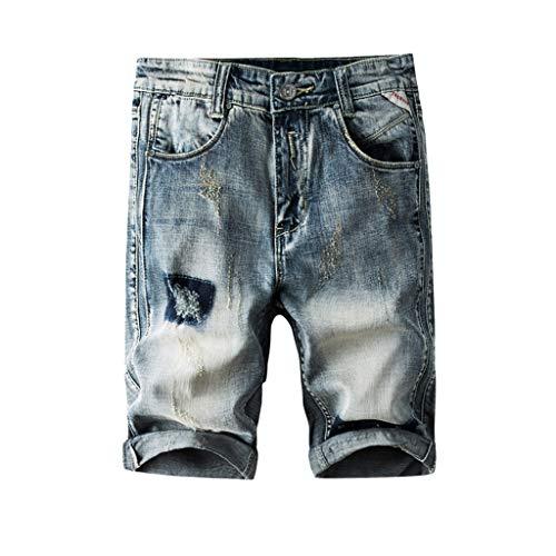 Zarupeng heren zomer gat jeans bermuda shorts doorscheurd denim vrije tijd shorts skateboard stright jeanbroek