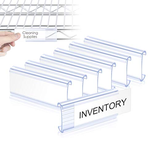 Lenink 30Pcs Wire Shelf Label Holders,Plastic Wire Rack Label Holder Compatible with Metro and Nexel 1-1/4in Shelves,Label Area 3in Lx1.25in H,with 30Pcs Label Paper Inserts