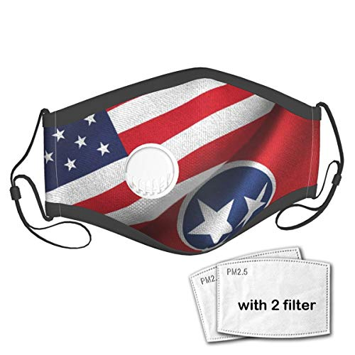 Tennessee State Flag Reusable Face Mask Anti Dust Mask with Breathing Valve and Filters
