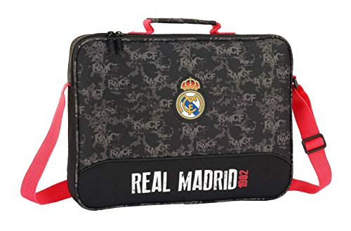 Safta Real Madrid - Cartera Extraescolares, Negro, 38 cm