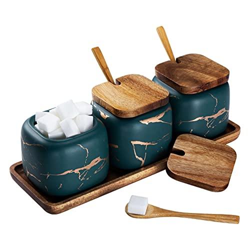 Set Zuccheriera in Ceramica, 3 pz Condimento Box con Coperchio e Cucchiaio e Vassoio, Spezia Jar Cucina Scatola Barattolo di Spezie, Utensili da Cucina Forniture per Spezie, Verde
