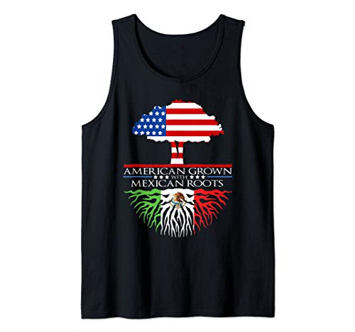 Mexican Roots American Grown Tree Flag USA Mexico Tank Top