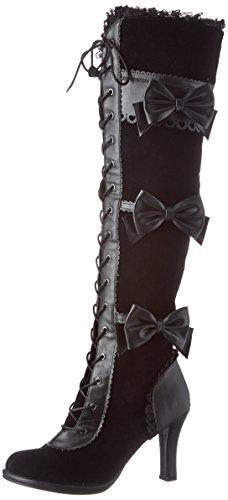 Demonia Damen GLAM-300 Kurzschaft Stiefel, Noir (Blk Vegan Leather-Velvet), 40 EU