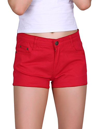 HDE Women's Solid Color Ultra Stretch Fitted Low Rise Moleton Denim Booty Shorts (Red, X-Small)