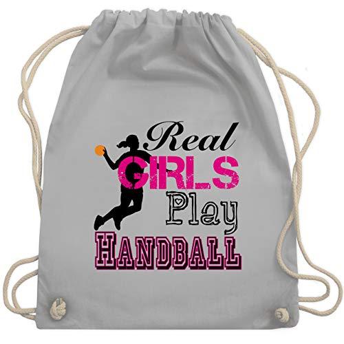 Shirtracer Handball - Real Girls Play Handball - Unisize - Hellgrau - handball - WM110 - Turnbeutel und Stoffbeutel aus Baumwolle