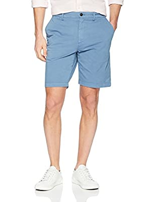 "Amazon Brand - Goodthreads Men's 9"" Inseam Flat-Front Comfort Stretch Chino Shorts, moonlight blue, 29"