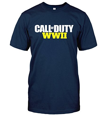 Call of Duty WWII T-Shirt CoD World War 2 WW2 Top Tee (Small, Navy Blue)