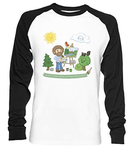 glücklich Wenig Bäume - Bob Ross Unisex Baseball T-Shirt Langarm Herren Damen Weiß Schwarz