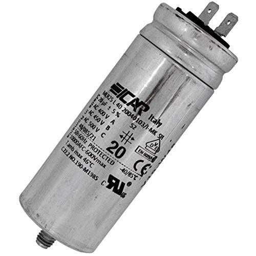 Anlaufkondensator Motorkondensator 20µF 450V 40x103mm Stecker 6,3x0,8mm ICAR 20uF