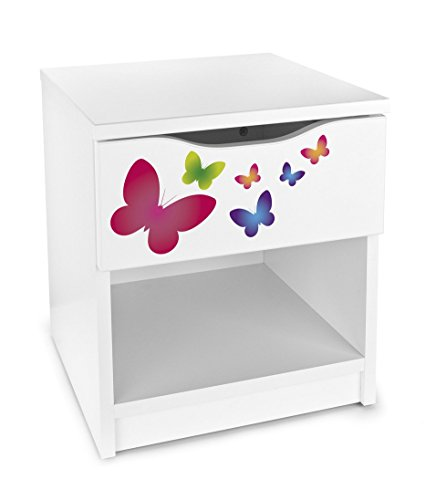Leomark comodino moderno in legno con cassetto e scompartimento apertoin, comodino per bambini, colore bianco con motivo FARFALLE, dimensioni: 40cm x 38cm x 42cm (LxWxH)