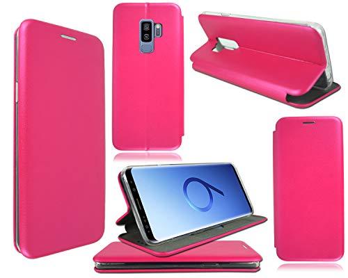 PIXFAB - Funda de piel con tapa para Samsung Galaxy S9 SM-G960F y Samsung Galaxy S9 Plus SM-G965, piel sintética, Monedero Rosa Premium, Samsung Galaxy S9 Plus SM-G965F