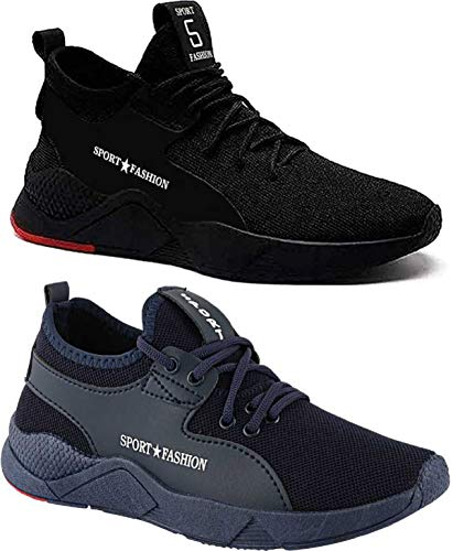 Maddy Combo Pack of 2 Sport Running Shoes & Gym Shoes for Men's (Black,Blue, Numeric_8)