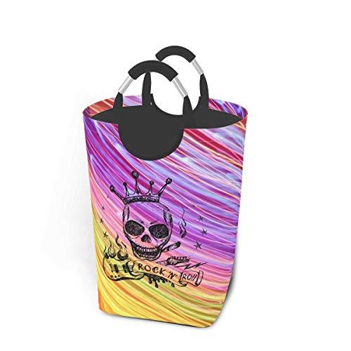 N\A Canasta de lavandería con diseño de Guitarra y Calavera Rock and Roll, Cesta de Lavado Plegable, Bolsa de lavandería de Compras Gruesa con Asas para un fácil Transporte