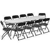 Flash Furniture 8' Bi-Fold Granite White Plastic Event/Training Folding Table Set with 10 Folding Chairs