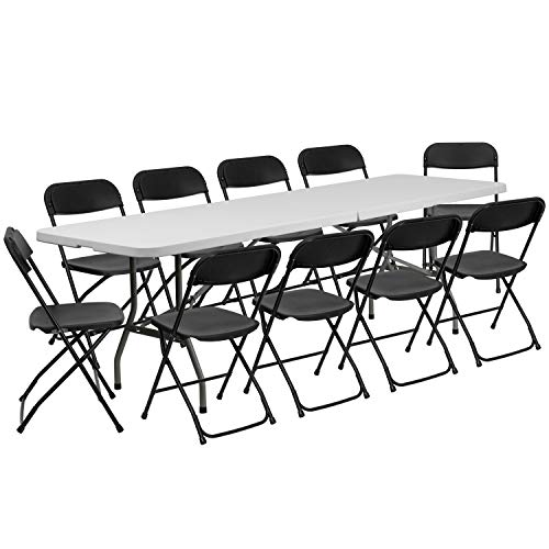 Flash Furniture 8' Bi-Fold Granite White Plastic Event/Training Folding Table Set with 10 Folding Chairs