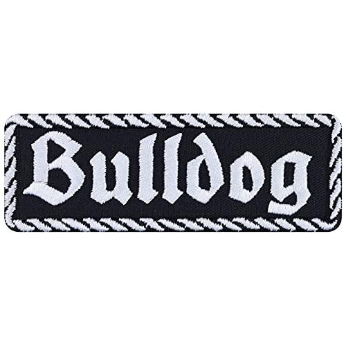 Parche de bulldog para motero, con diseño de perro, para planchar, adhesivo de metal resistente, regalo para hombres/mujeres, para manualidades, para chaqueta/chaleco/jeans/maleta, 100 x 35 mm