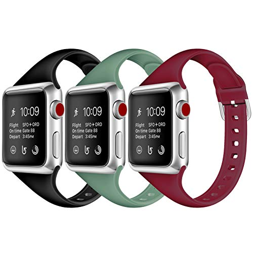 JOMOQ Sport Band Compatible with Apple Watch Band 38mm 40mm 42mm 44mm, Silicone Thin Replacement Wristband Slim Narrow Strap for iWatch Series 6 se 5 4 3 2 1 Women Men